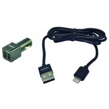 Adaptateur DC voiture - téléphone mobile & smartphone 2 x 2.4A USB + cable Iphone 5-6